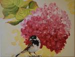2014 Mus bij hortensia. Acrylverf op doek 20 x 30 cm.    € 165,-