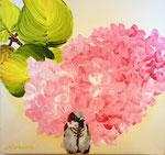 2014 mus voor hortensia acrylverf op doek 20 x 30 cm. € 206