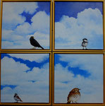 2013 Vogels in het raamkozijn, 4 keer 40 x 40 cm., acrylverf op linnen, verkocht.