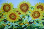 2012 Een geschenk van de aarde, de hemel, talrijke levende wezens, hard en liefdevol werkenacrylverf  op linnen 80 x 120 cm. € 1200,-