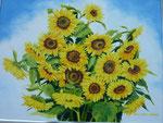 2011 Zonnebloemen I      acrylverf op paneel 80 x 60 cm. € 950