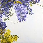 2014 In gedachten  Wisteria I    acrylverf op linnen 40 x 40 cm. € 500,-