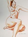 2006 in kleur uit gewerkte tekening naar levend model 60 x 80 cm.