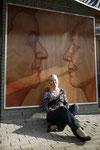 "2008 Situatie ""Dubbelportret"" acrylverf op Okoumépanel 2 x 2 mtr."