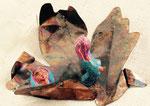 den Schleier fallen lassen - Wege aus der Gewalt aus der Reihe Fluchtgeschichten, 2016, Keramiplast Acryl, Blech, Sonderanfertigung
