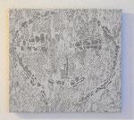 """Angesicht 10"", 2009 Jaquardgewebe (Viskose) auf Kappaplatte aufgezogen 30,3 x 33 x 1 cm, Unikat"