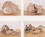 """""""Treibriehmen mit Außen- und Innenkörper"""" in 4 verschiedenen Stadien 1987/90 Holz, Leder, Leinen, Seide, Ölfarbe, Schellack, Leim, 100 x 130 x 110 cm, (sold)"""