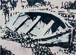 o.T. (Schiff-Epilog), 2010, Acryl a. Lwd., 42 x 57 cm (HCO-0078-10)