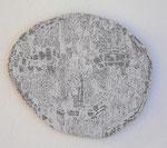 """Angesicht 3"", 2009 Jaquardgewebe (Viskose) auf Kappaplatte aufgezogen 26,5 x 31 x 1 cm, Unikat"