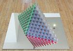 """""""Pyramide"""", 1972 Metallpyramide auf Spiegel 52 x 97 x 40 auf Spiegel: 100 x 100 cm (Sold)"""