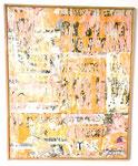 """""""Le fruit de la géométrie dans le temps proustillant d`un petit pan de mur"""", 1973 Papierdécollage auf Leinwand 81 x 65 cm (Sold)"""