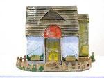 """""""Spielzeughaus"""", 1996 Pappmaché, Leim, Farbe, aufklappbar, ca. 21x 26 x 26"""