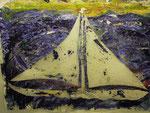 """""""Weltumsegelung"""" 2003 Leinwand, Papier, Fallschirmseide und div. Materialien 130 x 175 cm"""