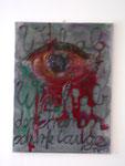 """""""Sorgschrub"""", 2006 Foto, Acryl, Flaschenreiniger, Hartfaserplatte 31,5 x 22 cm"""