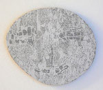 """Angesicht 4"", 2009 Jaquardgewebe (Viskose) auf Kappaplatte aufgezogen 25 x 29,3 x 1 cm, Unikat"
