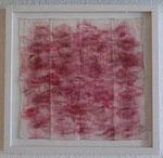 """basia mille II"", 2004 Lippenstift auf Musselin, handrolliert, in Rahmenkasten, verglast 21,6 x 22,5 cm, Rahmenkasten Maße: 26 x 27 x 2,5 cm, Unikat"