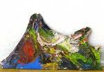 """""""Bergsilhouette I"""", 2006 Farbe, Leim, Holz, 33 x 58 cm, (sold)"""