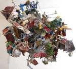 """""""Fliegende Katakombe mit Flieger"""", 2000 - 2006 Pappmachè, Leim, Farbe, Leinen, ca. 115 cm Durchmesser, sold"""