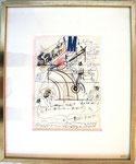"""""""o.T."""", 1971 Zeichnung, Collage, Kugelschreiber, Filzstift auf Papier 29,5 x 21 cm, gerahmt 53 x 44 cm"""