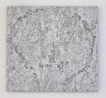 """""""Angesicht 12"""", 2009 Jaquardgewebe mit aufkaschierter u. aufgenähter Applikation (Viskose) auf Kappaplatte aufgezogen 30,5 x 33 x 1 cm, Unikat"""