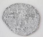 """Angesicht 1"", 2009 Jaquardgewebe (Viskose) auf Kappaplatte aufgezogen 26 x 31,2 x 1 cm, Unikat"