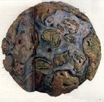 """""""Die Reise zum Mittelpunkt der Erde II (Weltkugel)"""", 1994/95 Papier/Holz Durchmesser, ca. 150 cm), Unikat"""