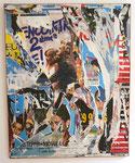 """""""Rue de Rennes"""", Juin 1987 Décollage, Plakatabrisse auf Leinwand 162 x 130 cm"""