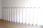 """""""Augensteine"""", 1996/2008, 13 Elemente, Liquid Light auf Gaze, eingelassen in Plexiglasblock, in Augenhöhe jeweils auf Einzelsockel je 8x18x10cm, Sockel: 155x18,1x10,2cm,  variabel ca. 8 - 10 m"""