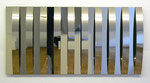 """rilievo speculare a elementi curui"", 1962 Metallrelief 60 x 120 x 7,5 cm"