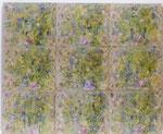 """""""o.T."""", 1991, Öl auf Seidenbrokattapete mit Blumenmuster, 219 x 180 cm"""