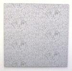 """5 2/2 Angesichte"", 2009 Jaquardgewebe (Viskose) auf Keilrahmen 136 x 138 x 3 cm, Unikat"