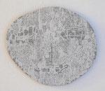 """""""Angesicht 2"""", 2009 Jaquardgewebe mit Stickerei (Viskose) auf Kappaplatte aufgezogen 25 x 28,7 x 0,5 cm, Unikat"""