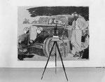 """""""Story Art (avec l´auto noir)"""" 1987 Pastellmalerei auf Leinwand, Filmprojektor, Stativ und Bücher. 210 x 280 x 80 cm"""