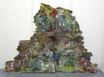 """Matterhorn"", 2006 Pappe, Leim, Farbe auf Holz, 130 x 185 cm"