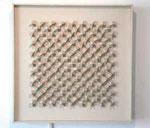 """""""Kinetisches Objekt, weiße Kreuzlamellen auf Weiß"""", 1963 anderer Titel: """"proposition pour une architecture nouvelle"""" 71,7 x 71,7 cm"""