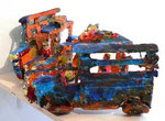 """Lasttaxi"", 2006 Pappmachè, Leim, Farbe, aufklappbar, ca. 17 x 24 x 15 cm (Sold)"