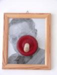 """""""Selbstportrait"""", 2001 Foto, gerahmt, mit Abflußpropfen 35 x 29 cm"""