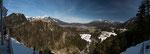 Blick vom Falkenberg/Tirol zur Festung Ehrenberg und nach Reutte