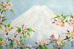 春の富士 F6号 紙本彩色 ©INOUE KIYOHARU
