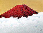 赤富士 P15号 (04) 紙本彩色 ©INOUE KIYOHARU