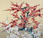 紅白梅 F10号 紙本彩色 ©INOUE KIYOHARU