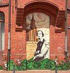 Hases Bildnis an einem Backsteingebäude in der nach ihm benannten Hasestraße