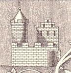 Marienburg 1363; stilisierte Darstellung auf der Grabplatte Bischof Heinrichs III.
