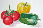 Tomaten und Paprika, Ölkreide