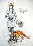 Foxy Lady . 100 x 70 cm . Pastel & Charcoal On Paper