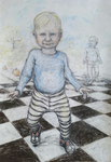 Walker . 100 x 70 cm . Pastel & Charcoal On Paper