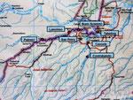 Landkarte des Javarí-Beckens. Darauf sind die wichtigsten Dörfer der Fischer eingetragen.