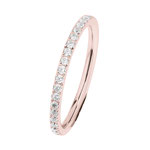 Ring  Edelstahl 2 mm, poliert, Zirkonia white,  Rotgold beschichtet, R455.WH. 79,- €