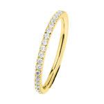 Ring  Edelstahl 2 mm, poliert, Zirkonia white,  Gelbgold beschichtet, R454.WH. 79,- €