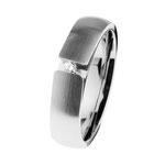Ring Edelstahl matt/poliert, Brill. TW/SI 0,035 ct., R512. Preis 159,- €